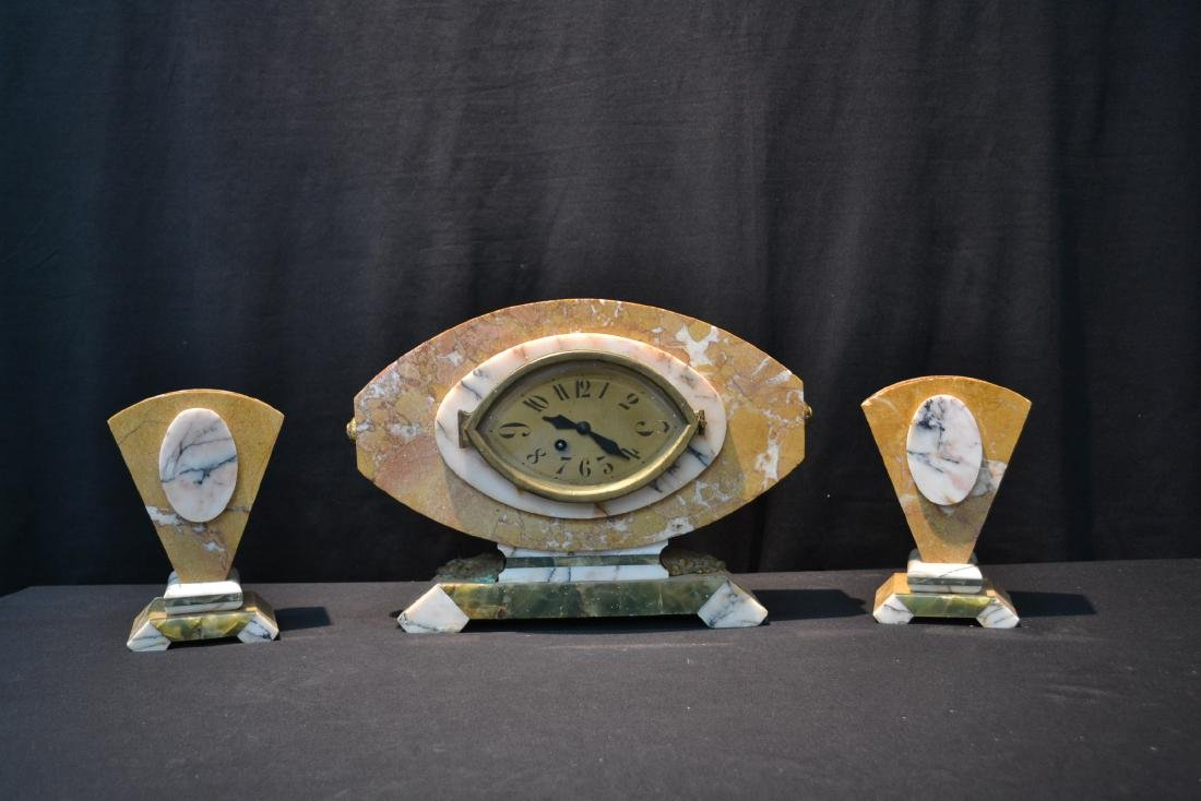 (3)pc FRENCH DECO TRI COLOR MARBLE CLOCK SET - 2