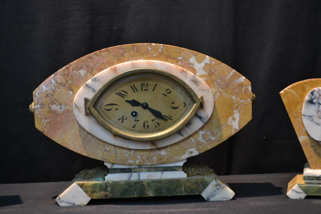 (3)pc FRENCH DECO TRI COLOR MARBLE CLOCK SET - 3