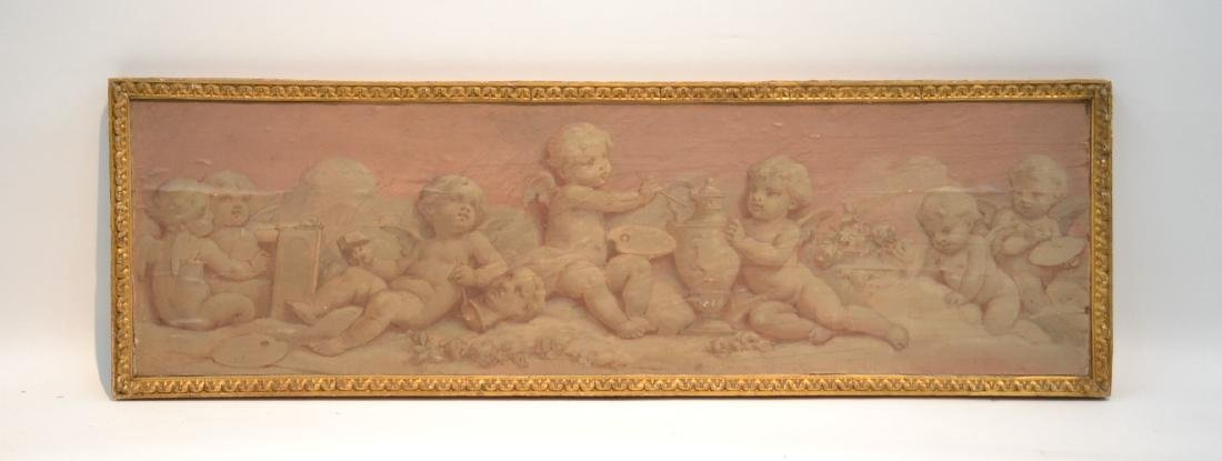 OIL ON WOOD PANEL OF CHERUBS SCULPTING &