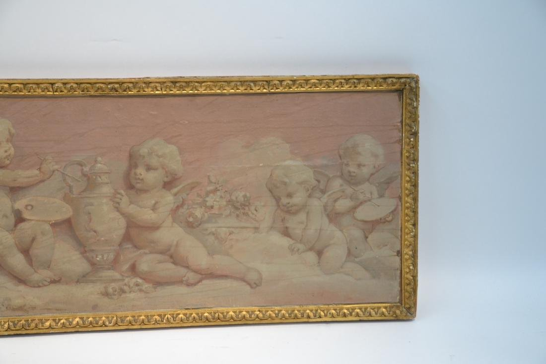 OIL ON WOOD PANEL OF CHERUBS SCULPTING & - 2