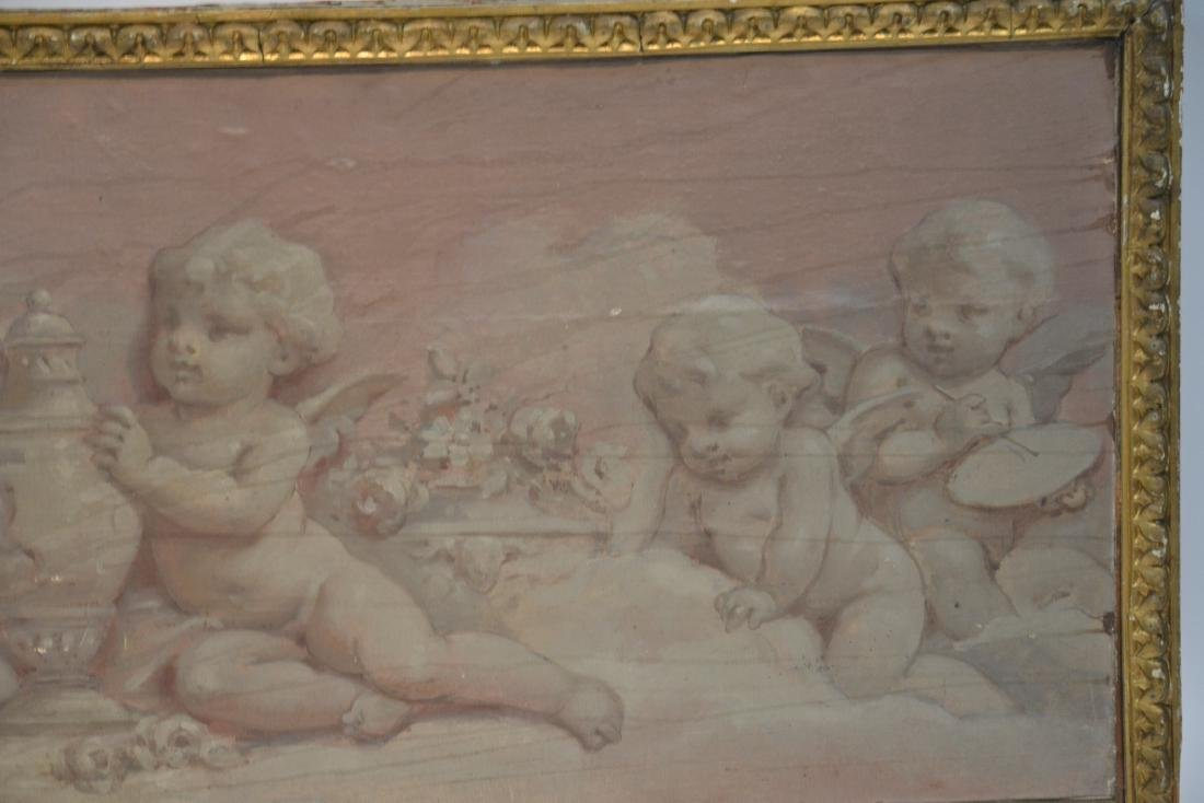 OIL ON WOOD PANEL OF CHERUBS SCULPTING & - 3