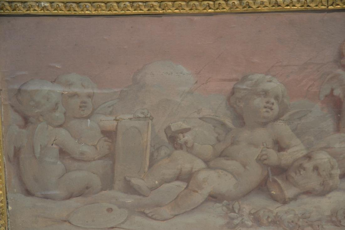 OIL ON WOOD PANEL OF CHERUBS SCULPTING & - 5