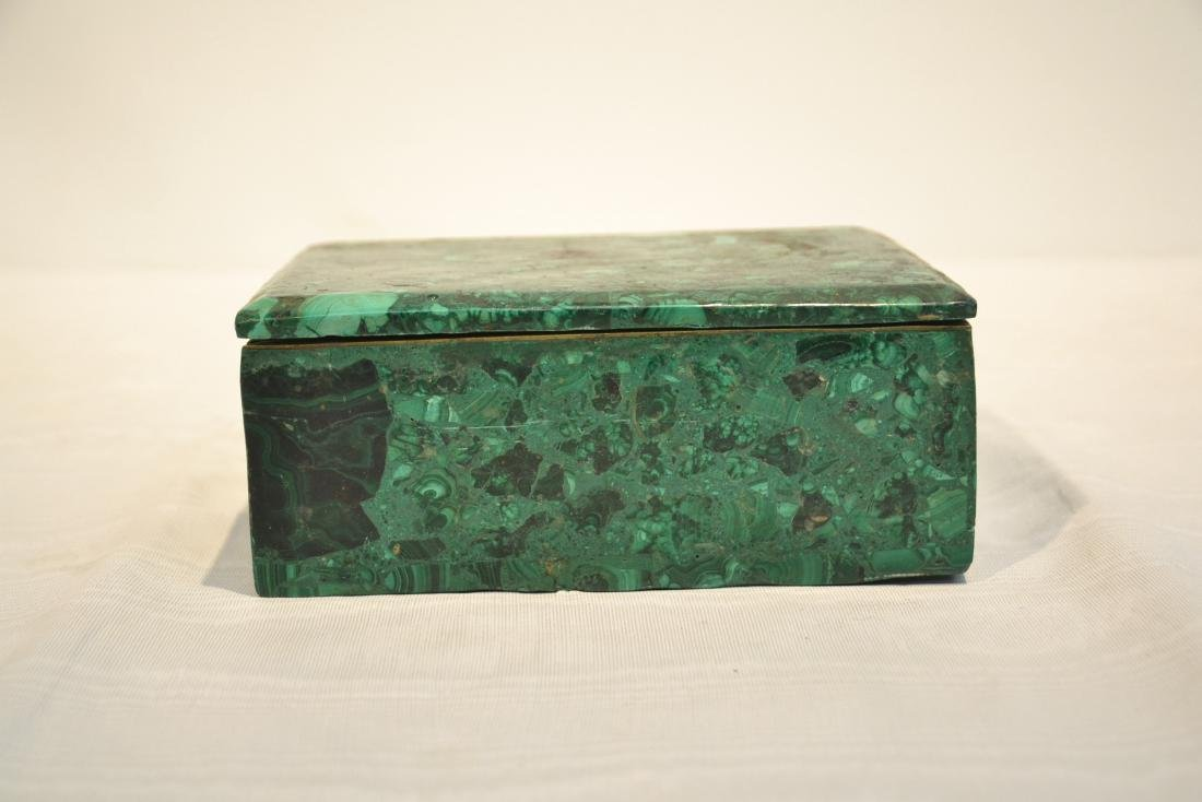 SOLID MALACHITE BOX WITH BRONZE MOUNTS - 10