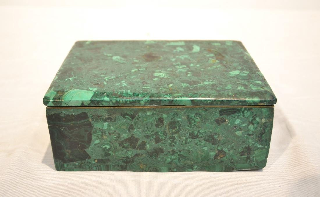 SOLID MALACHITE BOX WITH BRONZE MOUNTS