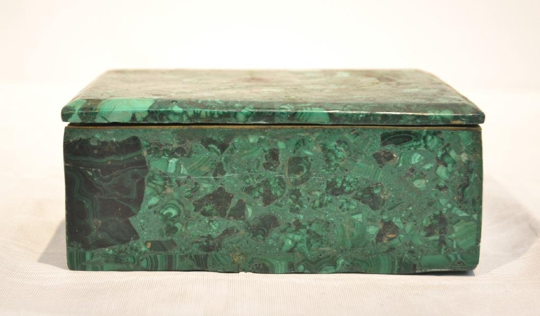 SOLID MALACHITE BOX WITH BRONZE MOUNTS - 2