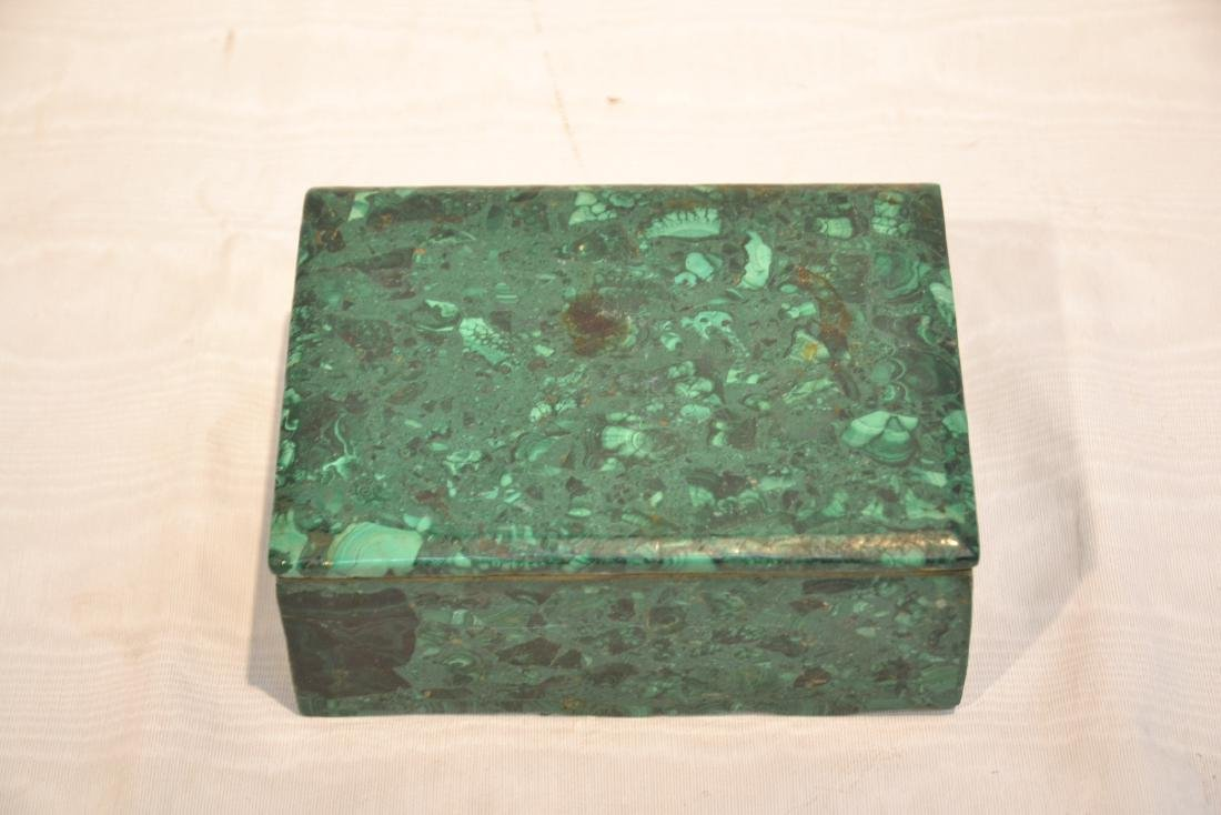 SOLID MALACHITE BOX WITH BRONZE MOUNTS - 3