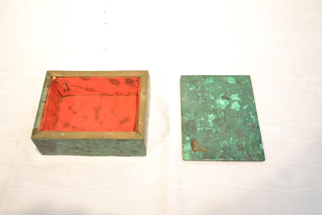 SOLID MALACHITE BOX WITH BRONZE MOUNTS - 5