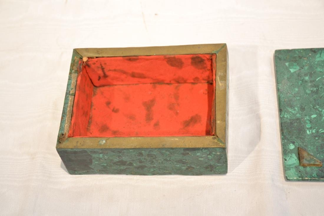 SOLID MALACHITE BOX WITH BRONZE MOUNTS - 6