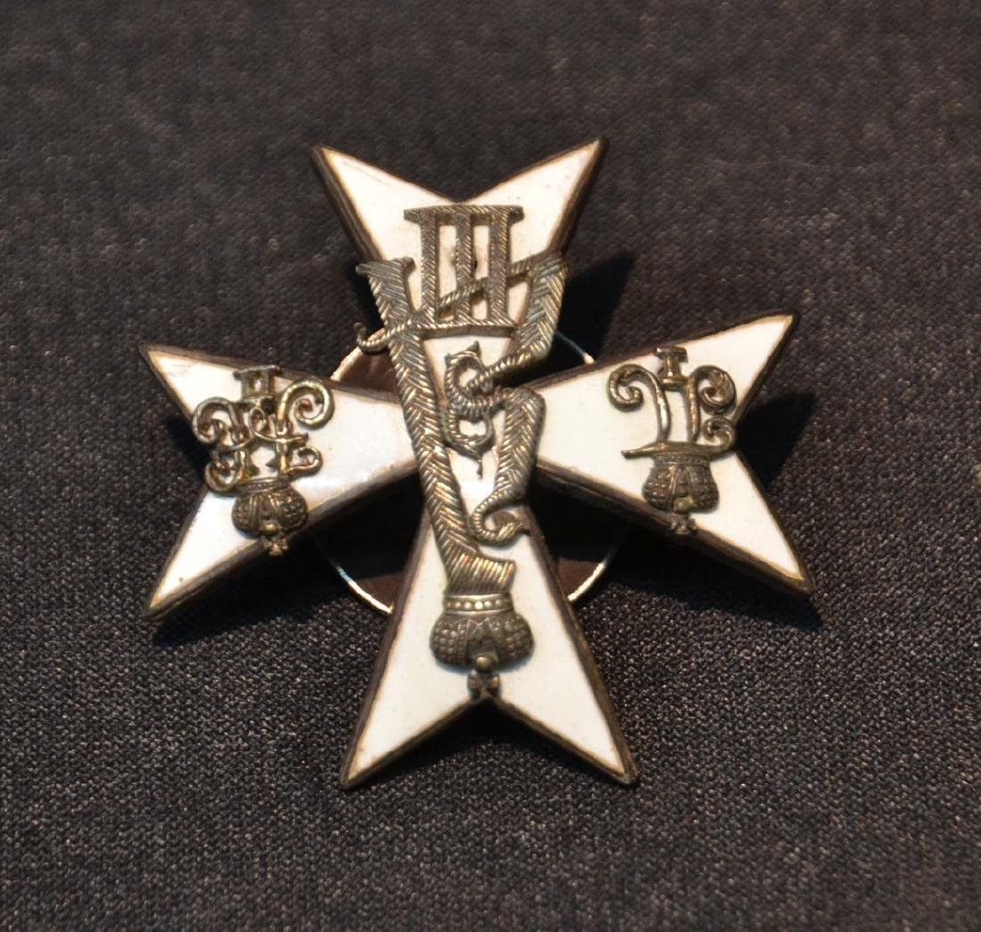RUSSIAN SILVER & WHITE ENAMEL ORDER - BADGE