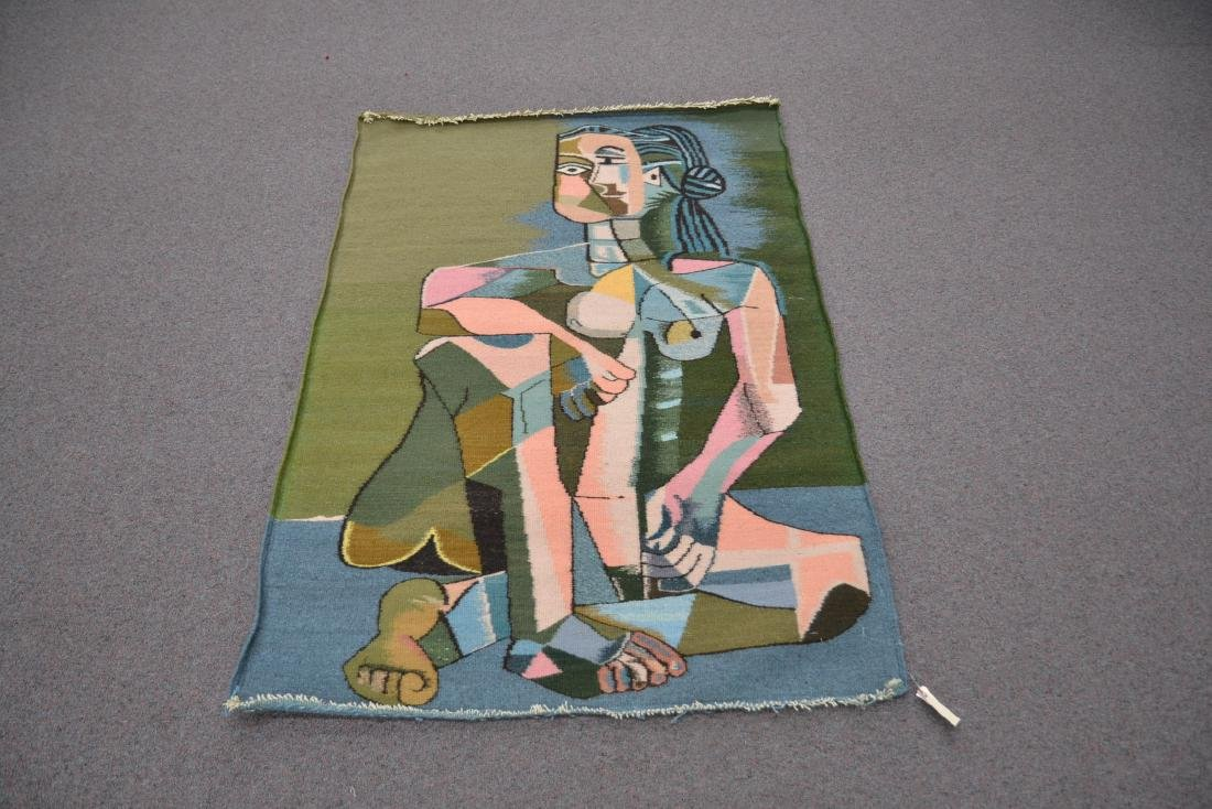 PICASSO STYLE TAPESTRY WITH FIGURE OF WOMAN - 7