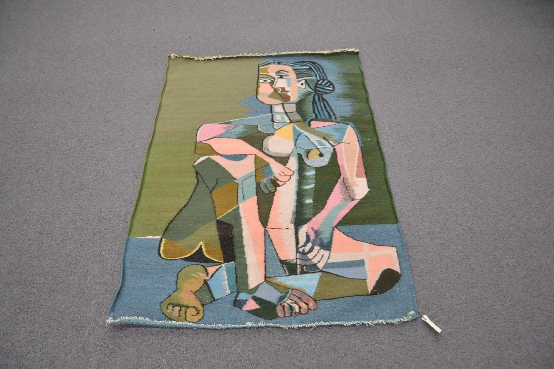 PICASSO STYLE TAPESTRY WITH FIGURE OF WOMAN - 8