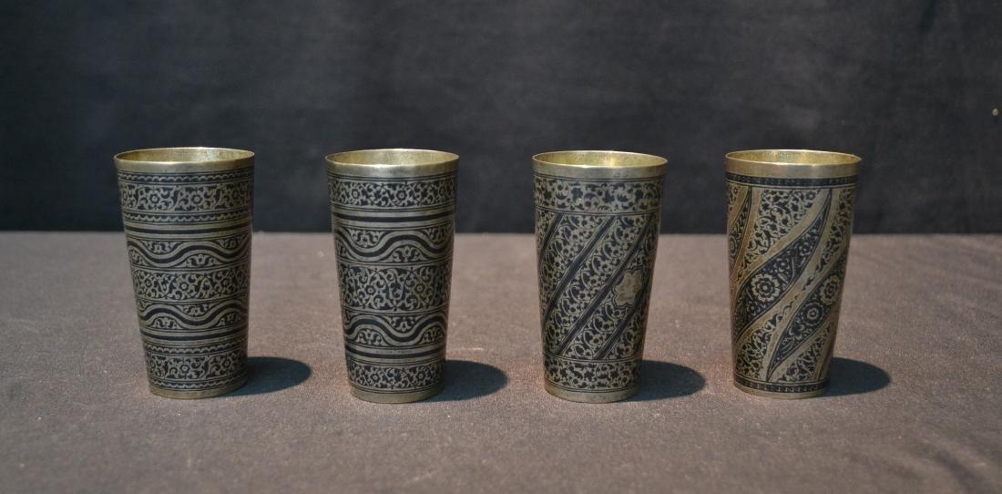 (4) SILVER & NIELLO ENAMEL CUPS