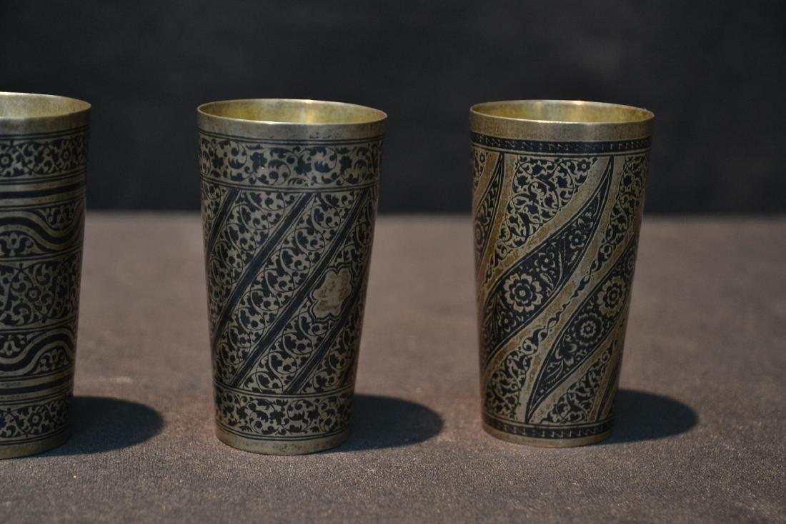 (4) SILVER & NIELLO ENAMEL CUPS - 2