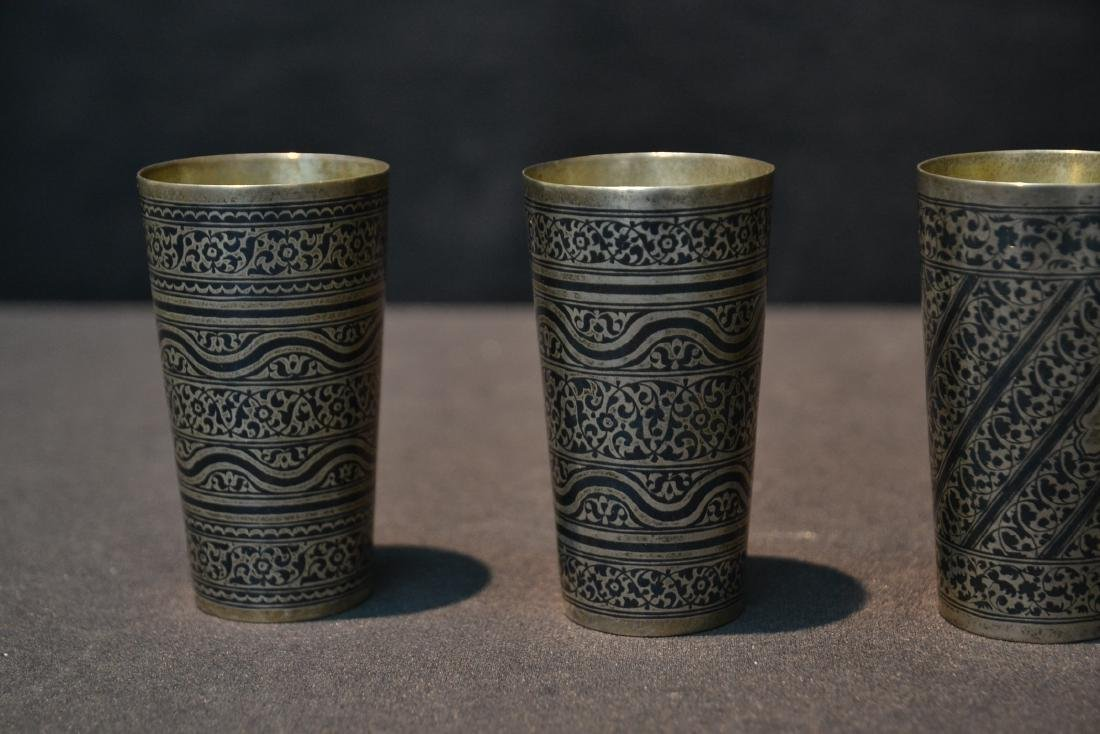 (4) SILVER & NIELLO ENAMEL CUPS - 3