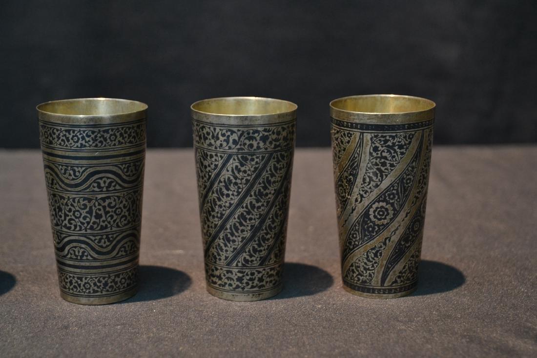 (4) SILVER & NIELLO ENAMEL CUPS - 4