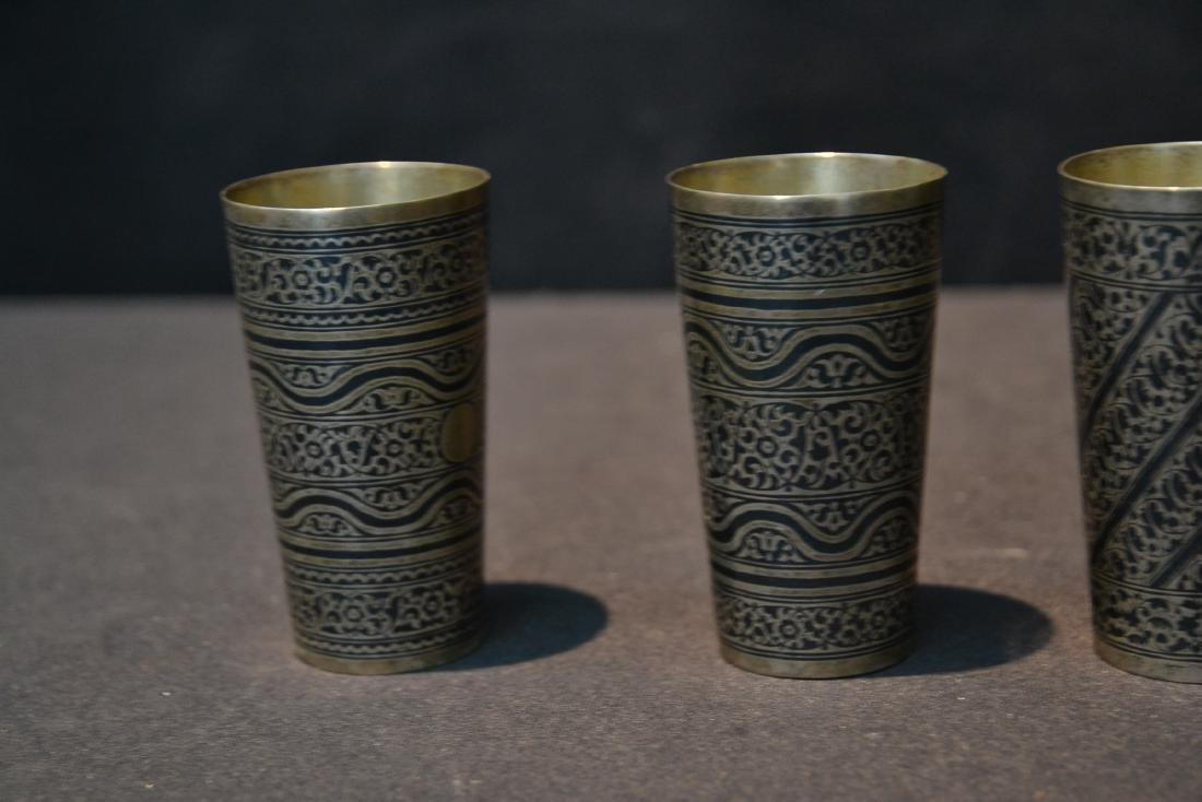 (4) SILVER & NIELLO ENAMEL CUPS - 5