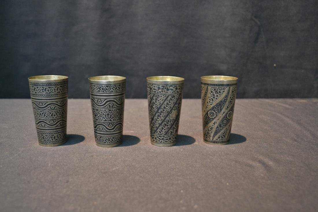 (4) SILVER & NIELLO ENAMEL CUPS - 8
