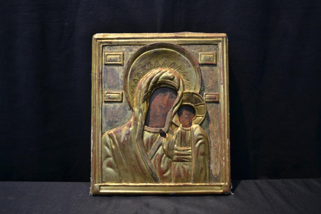 EARLY RUSSIAN ICON WITH CARVED GILT SLEEVE - 2