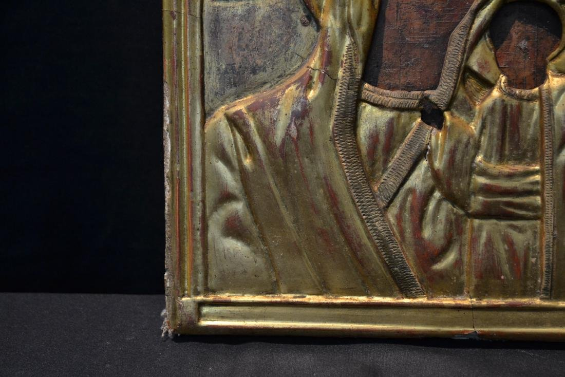 EARLY RUSSIAN ICON WITH CARVED GILT SLEEVE - 4