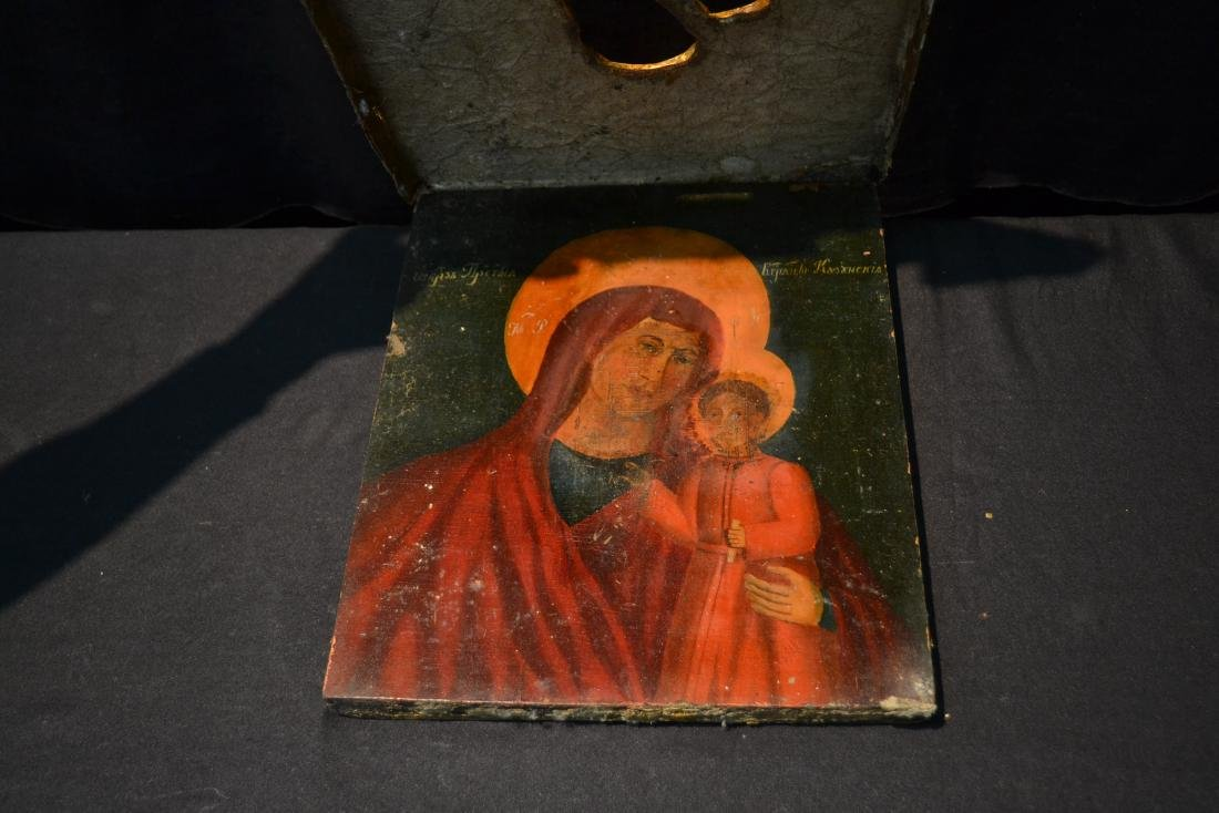 EARLY RUSSIAN ICON WITH CARVED GILT SLEEVE - 5