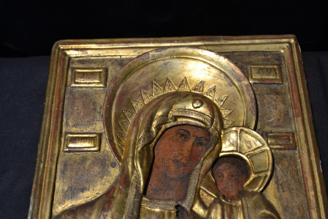 EARLY RUSSIAN ICON WITH CARVED GILT SLEEVE - 9