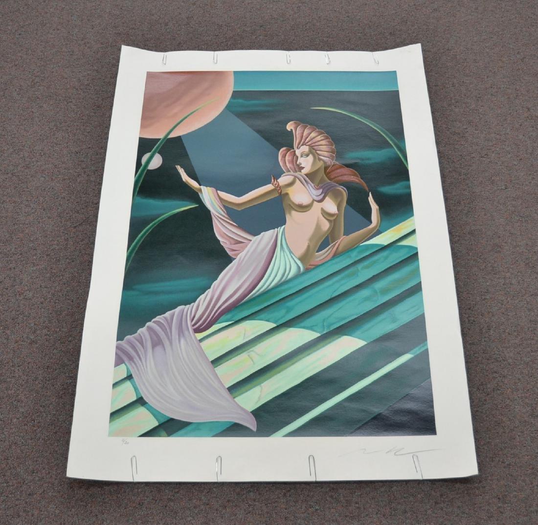 MOSER ILLUMINATED LITHOGRAPH OF SEMI NUDE