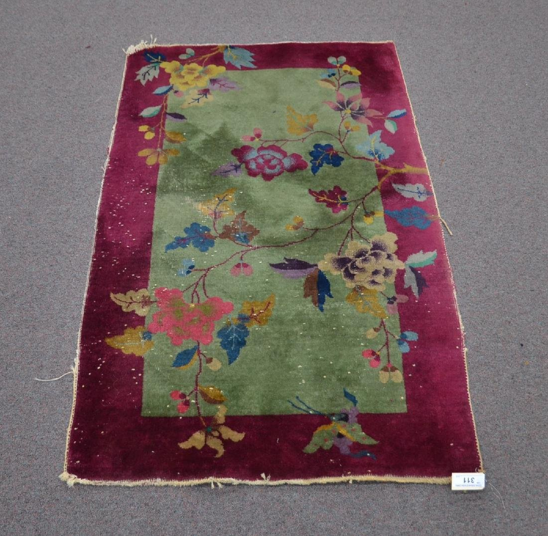 3' x 5' CHINESE DECO RUG WITH PLUM BORDER