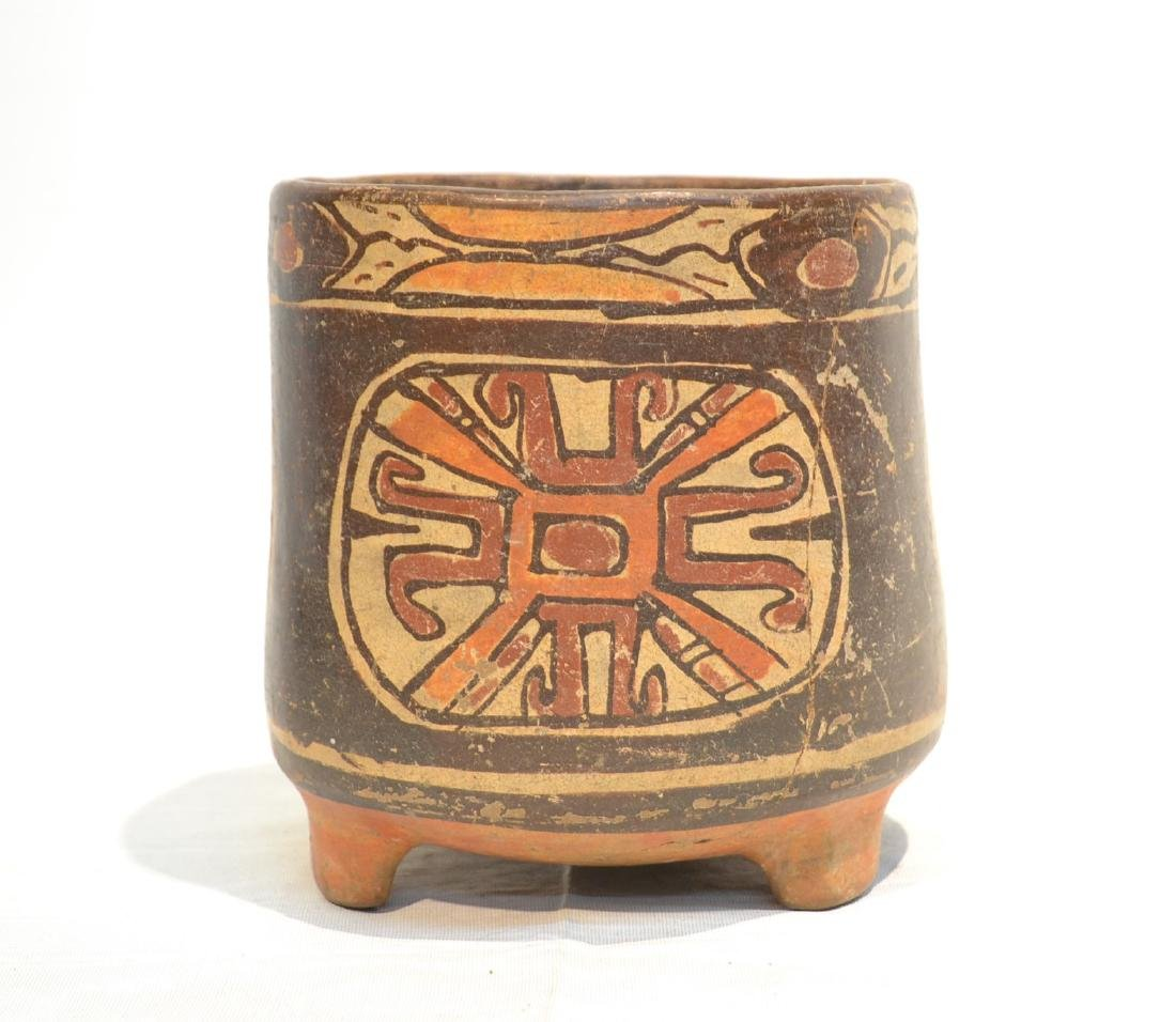 ANCIENT MAYAN FOOTED POTTERY TRIPOD VASE