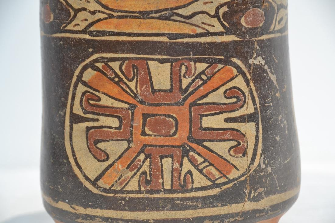 ANCIENT MAYAN FOOTED POTTERY TRIPOD VASE - 2