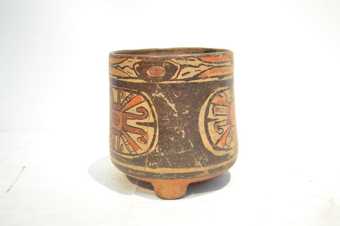 ANCIENT MAYAN FOOTED POTTERY TRIPOD VASE - 3