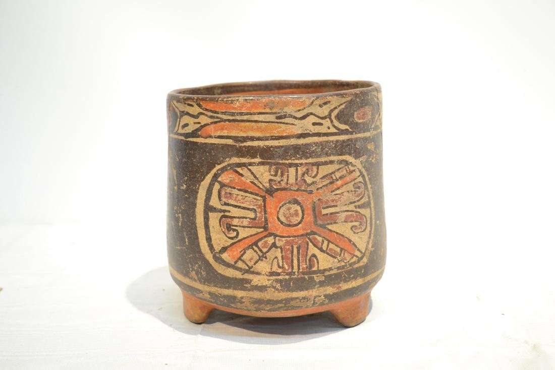 ANCIENT MAYAN FOOTED POTTERY TRIPOD VASE - 4