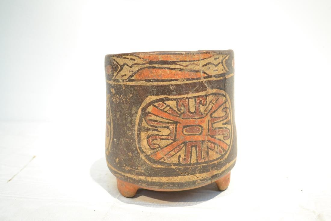 ANCIENT MAYAN FOOTED POTTERY TRIPOD VASE - 5