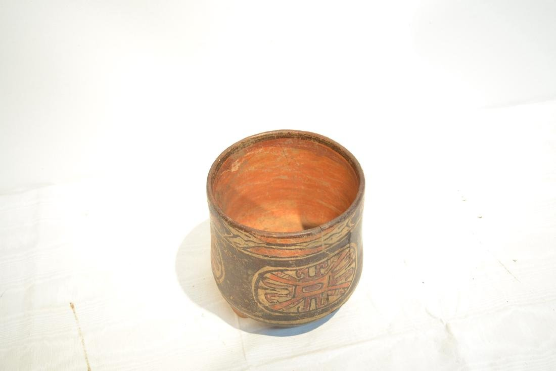 ANCIENT MAYAN FOOTED POTTERY TRIPOD VASE - 7