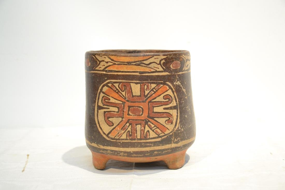 ANCIENT MAYAN FOOTED POTTERY TRIPOD VASE - 9
