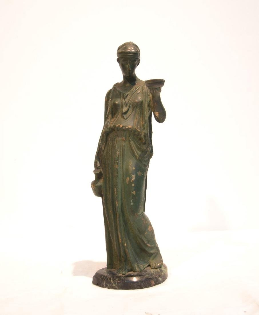 EARLY VERDIGRIS BRONZE NEO CLASSICAL WOMAN