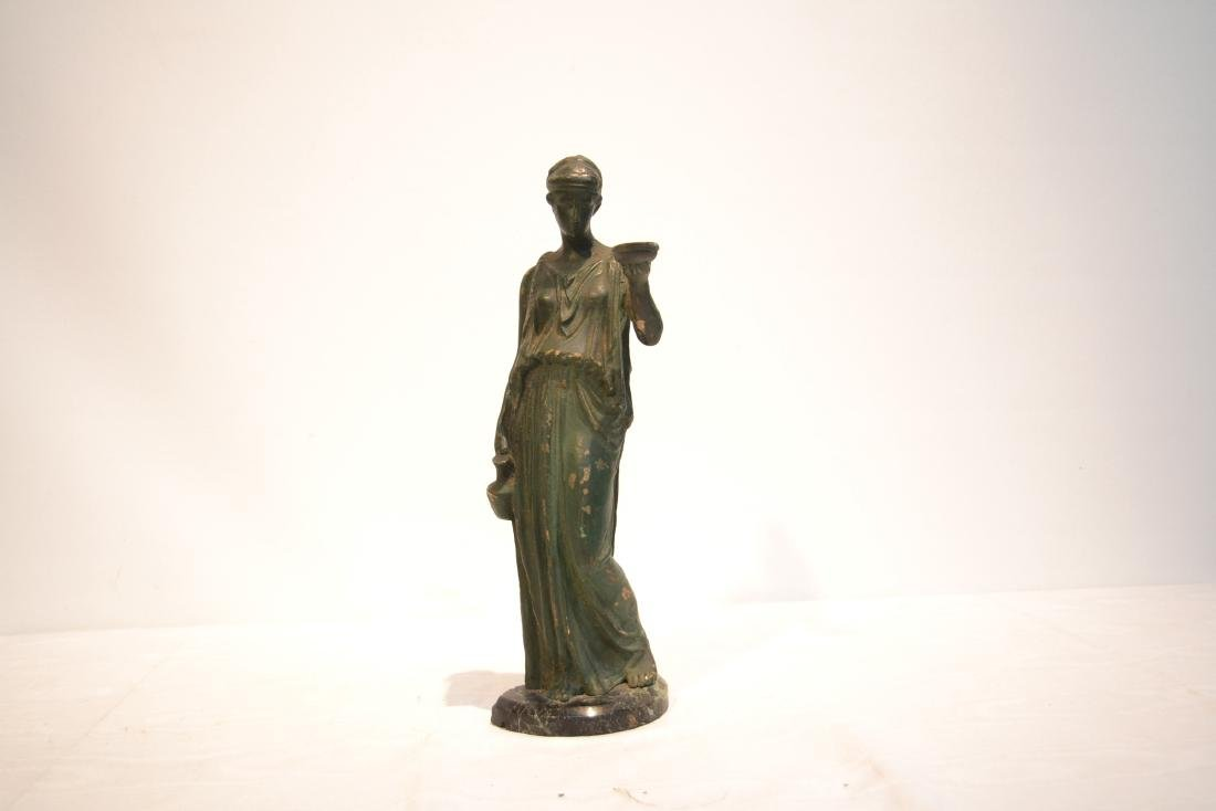 EARLY VERDIGRIS BRONZE NEO CLASSICAL WOMAN - 2