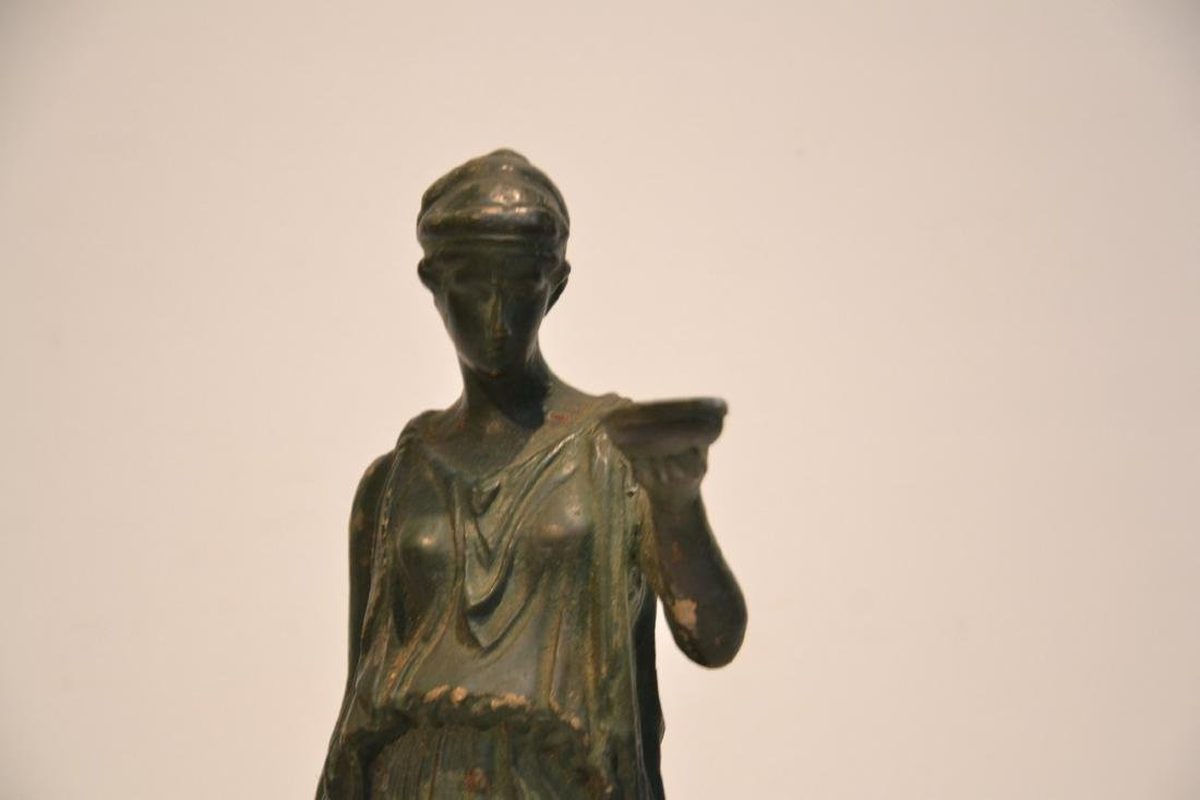 EARLY VERDIGRIS BRONZE NEO CLASSICAL WOMAN - 3