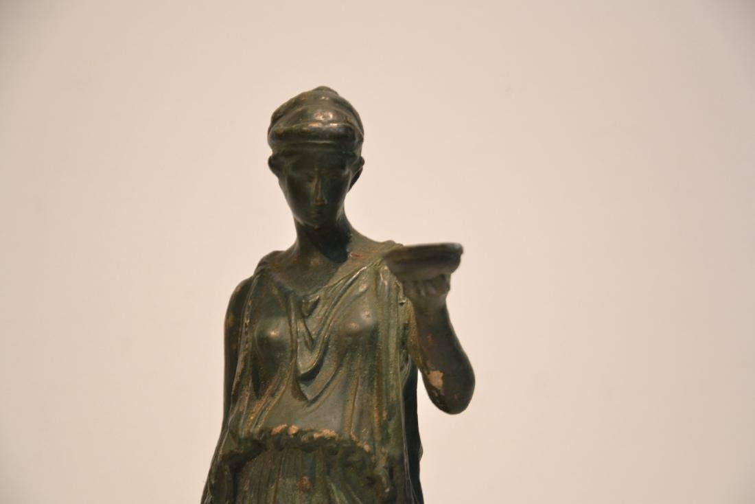 EARLY VERDIGRIS BRONZE NEO CLASSICAL WOMAN - 4