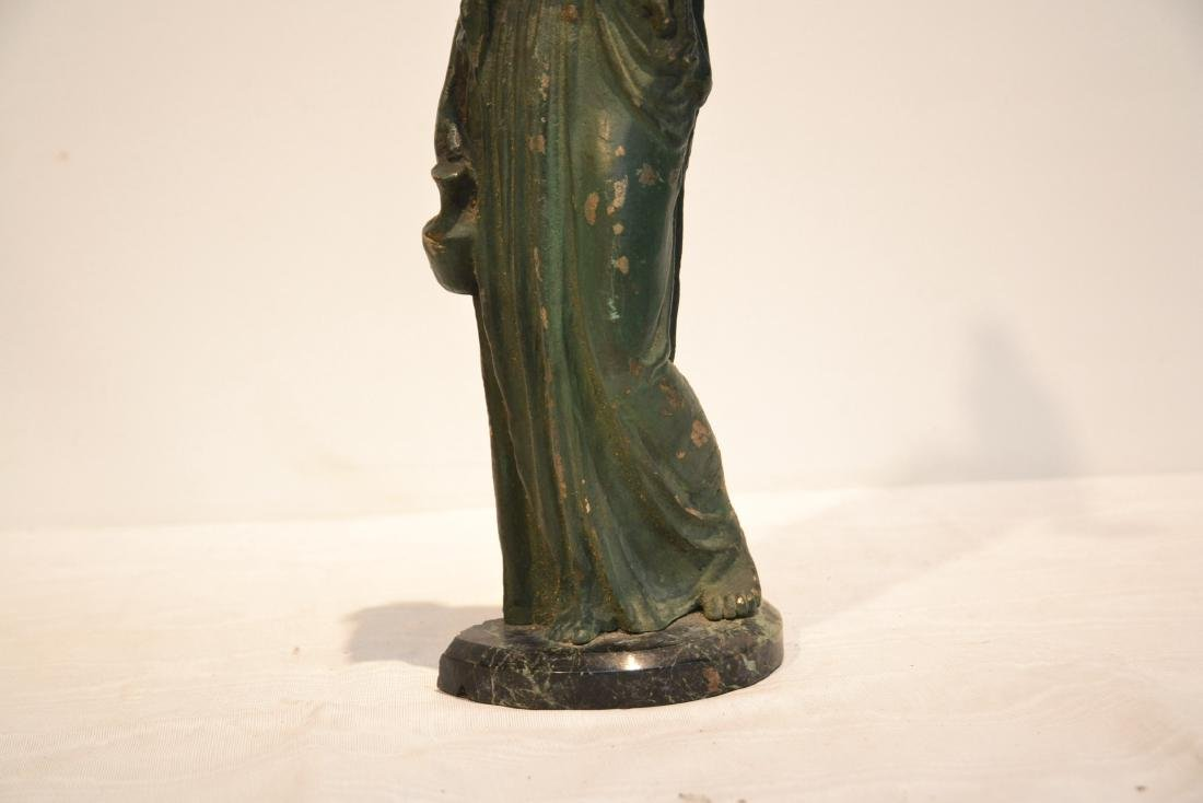EARLY VERDIGRIS BRONZE NEO CLASSICAL WOMAN - 5