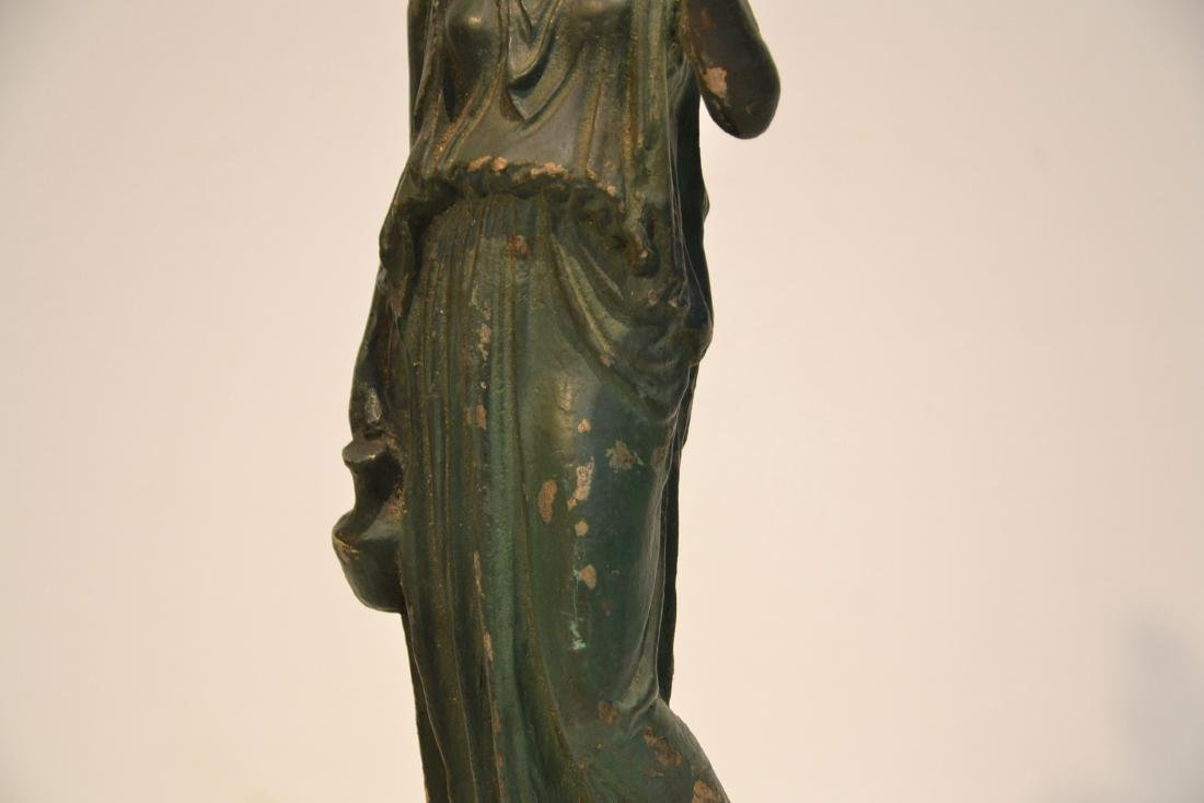 EARLY VERDIGRIS BRONZE NEO CLASSICAL WOMAN - 6
