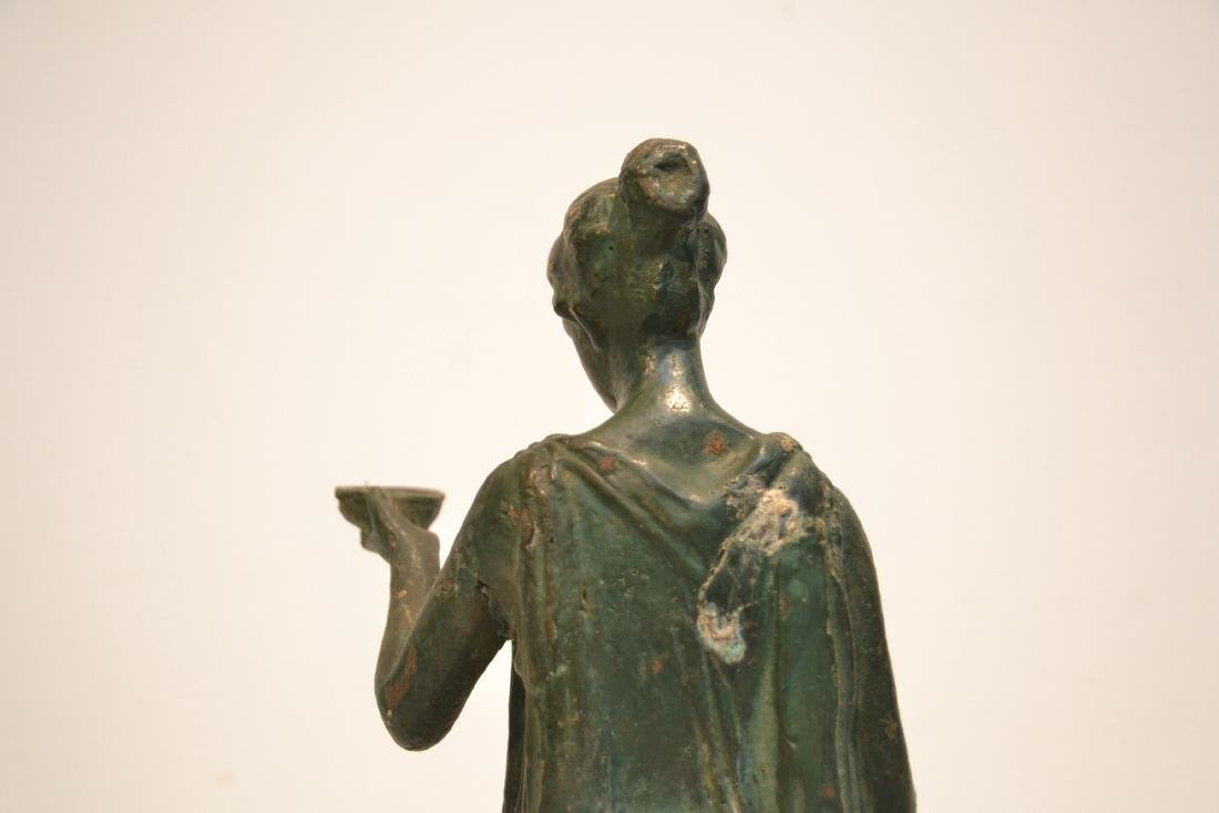 EARLY VERDIGRIS BRONZE NEO CLASSICAL WOMAN - 8