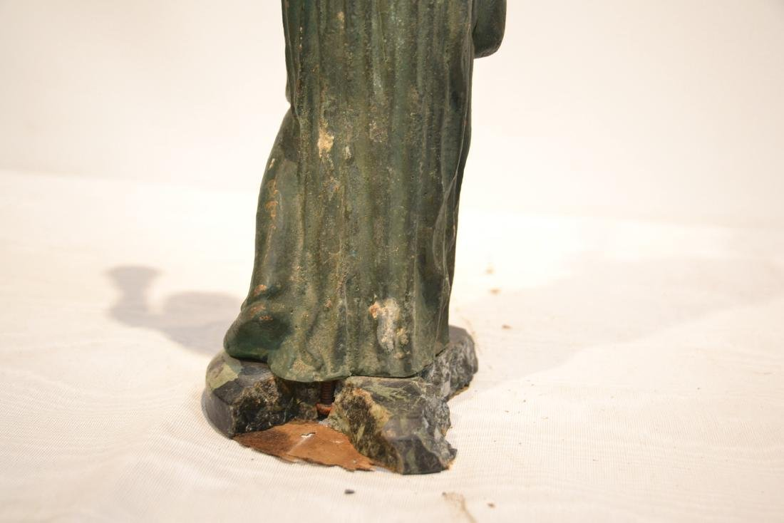 EARLY VERDIGRIS BRONZE NEO CLASSICAL WOMAN - 9