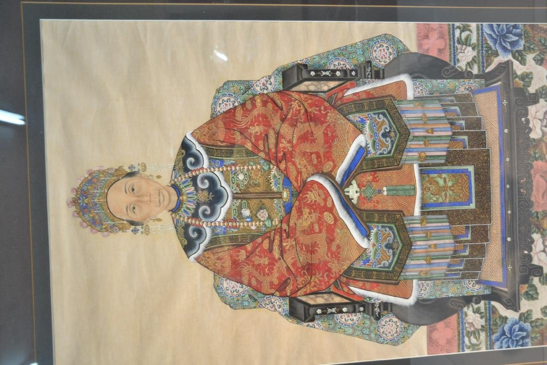 CHINESE ANCENSTRAL SEATED WOMAN PAINTING - 8