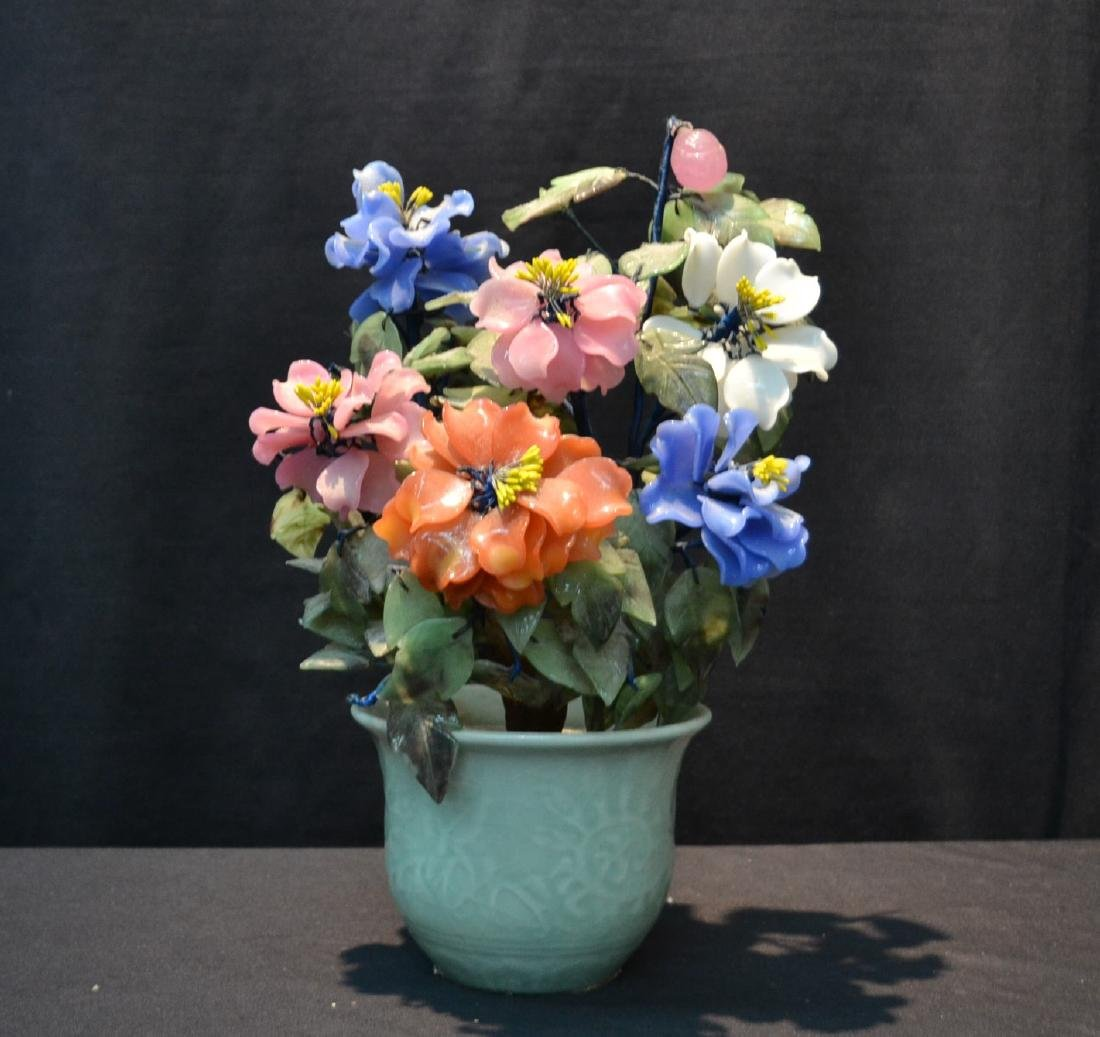 PRECIOUS STONE & GLASS FLOWERS IN CELEDON POT