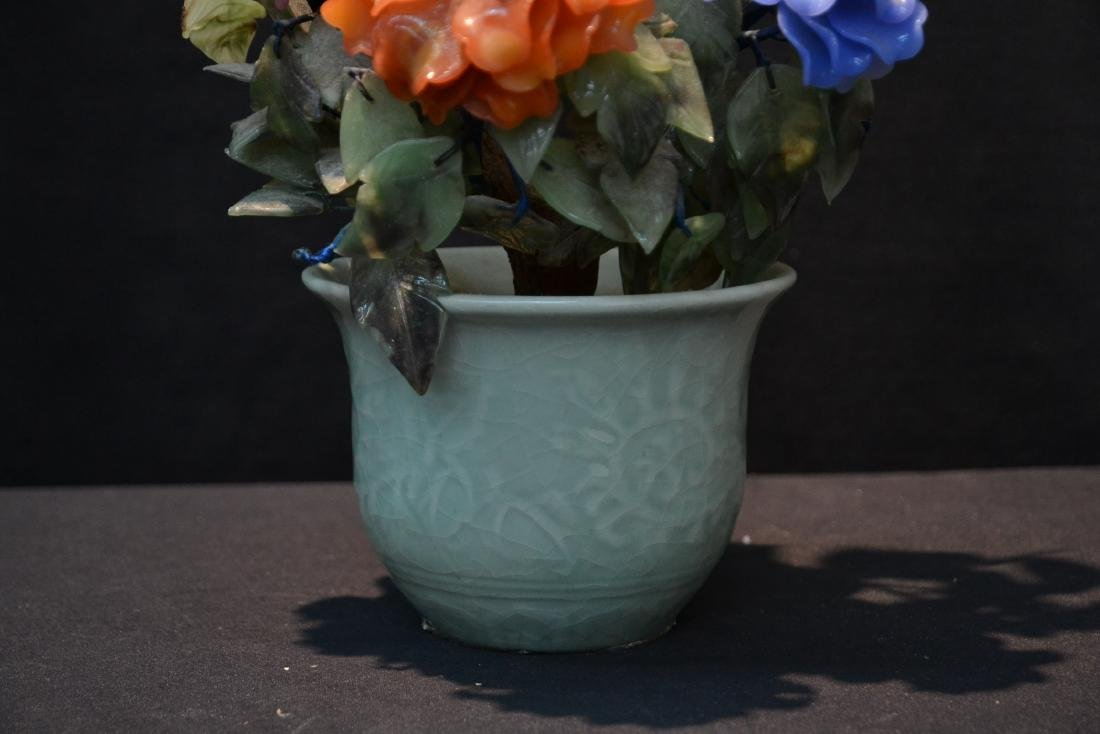 PRECIOUS STONE & GLASS FLOWERS IN CELEDON POT - 3