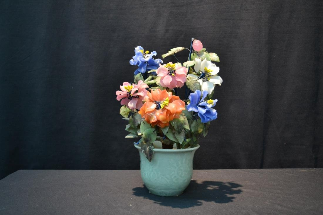 PRECIOUS STONE & GLASS FLOWERS IN CELEDON POT - 6