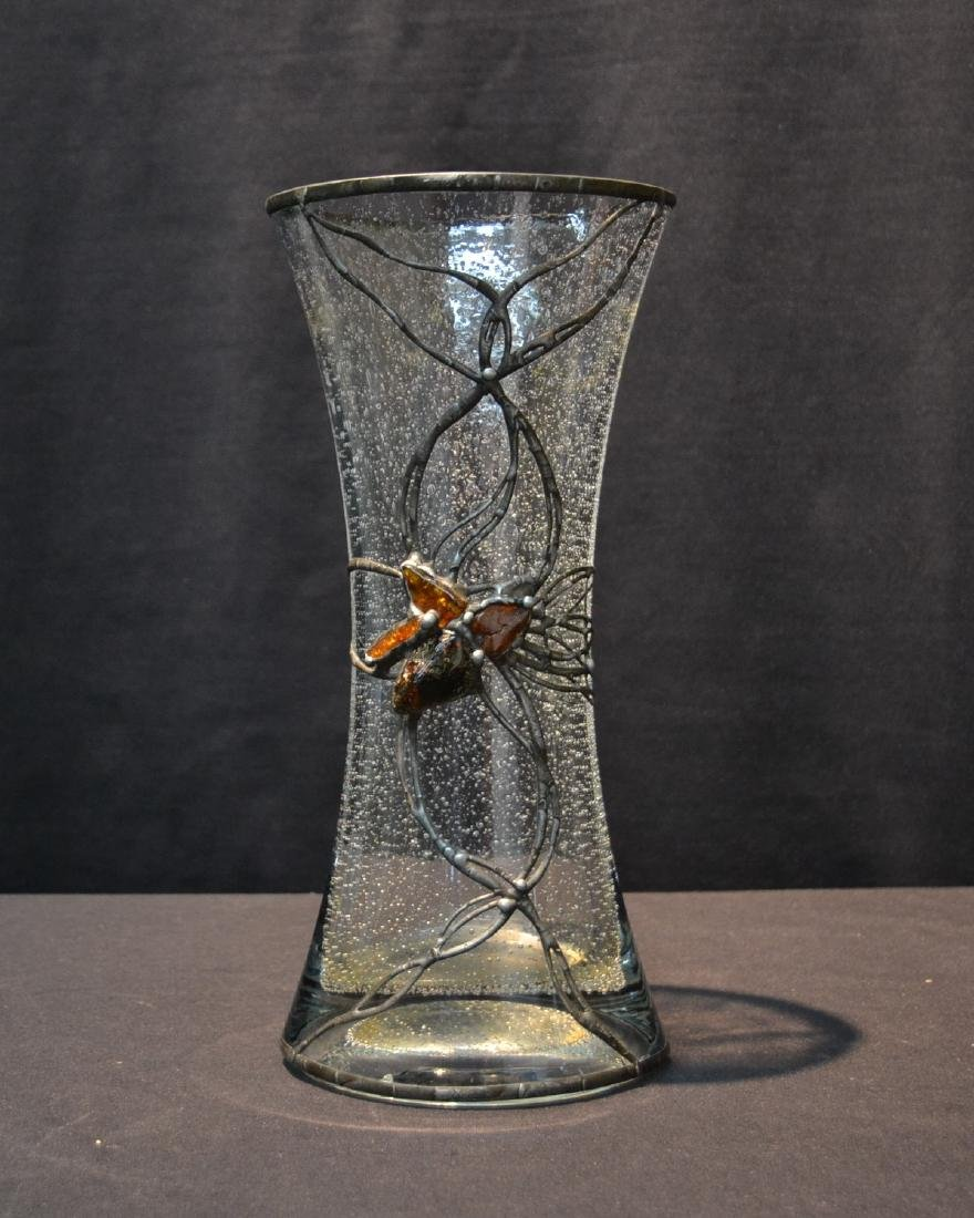 POLISH CRYSTAL VASE WITH SILVERED OVERLAY &