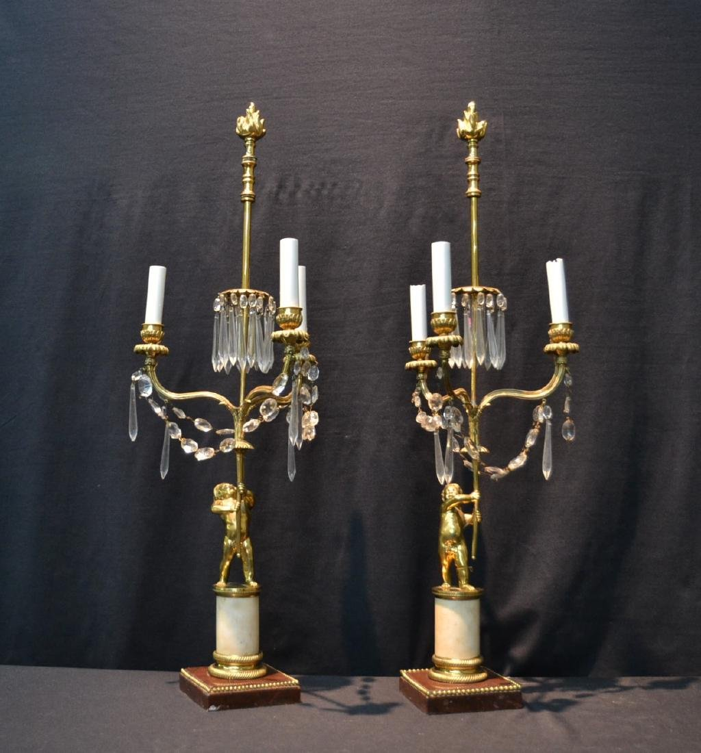 (Pr) BRONZE CANDELABRAS LAMPS WITH PUTTI