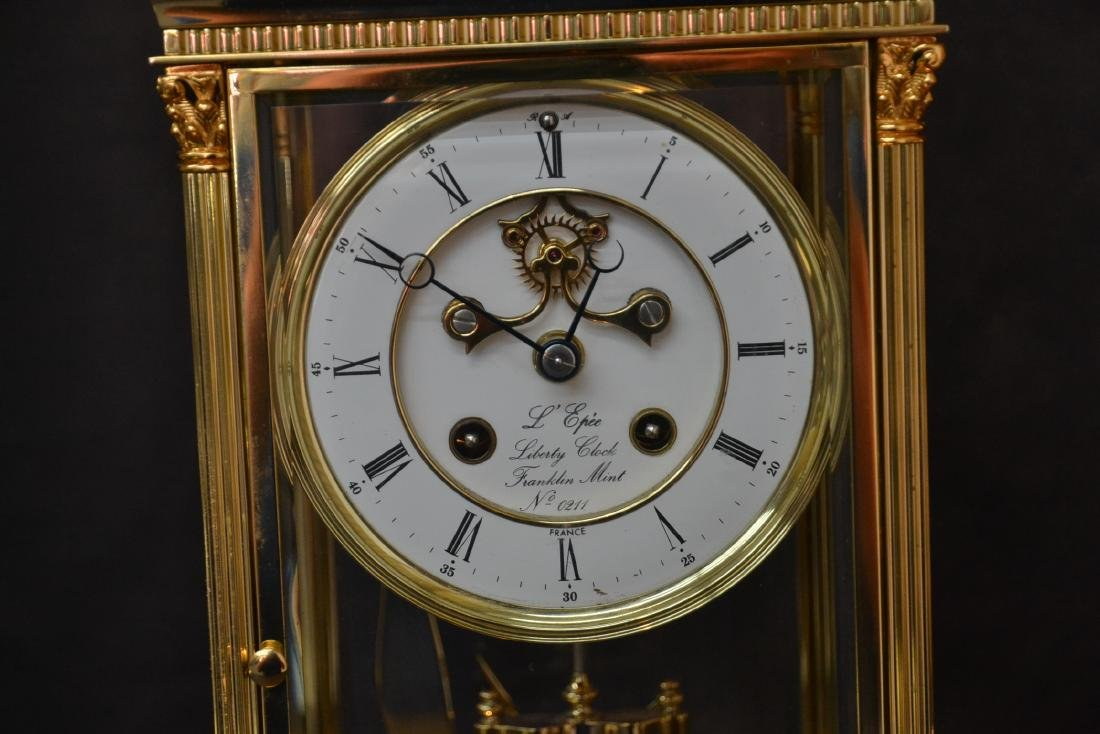 """""""THE LIBERTY CLOCK"""" L'EPEE FRENCH BRONZE & CRYSTAL - 2"""