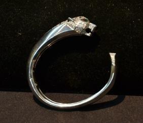 18kt White Gold Cartier Panthere Bangle Bracelet